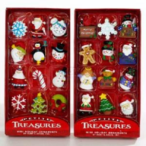 petite treasures miniature ornaments 24 pieces - Miniature Christmas Decorations